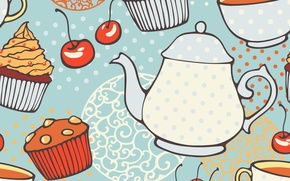 Picture texture, kettle, texture, cupcakes, tea, muffins