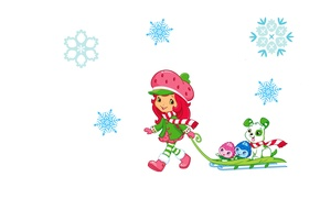 Picture snowflakes, mood, art, girl, scarf, sled, children's. winter