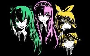 Picture girls, guy, vocaloid, Hatsune Miku, Kagamine Rin, Vocaloid, Kagaemine len, Luka