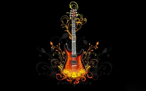 Picture fire, pattern, black, guitar