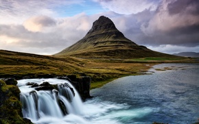 Picture mountain, waterfall, stream, Iceland, Kirkjufell