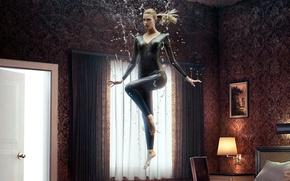 Picture girl, series, window, Australian, blonde, lamp, thigh, 2015, tv series, American series, room tables, Emma ...