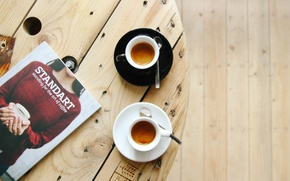 Picture coffee shop, table, wood, espresso, coffe time, coffee, robusta, arabica, magazine
