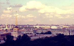 Picture the sky, the city, view, height, Peter, Saint Petersburg