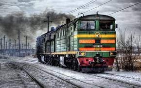 Picture winter, train, locomotive, Russia