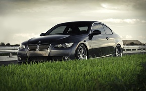 Picture the sky, grass, machine, bmw, BMW, coupe, focus, cars, car, 335i coupe