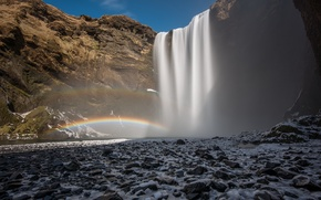 Picture landscape, mountains, waterfall, rainbow