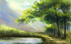 Picture forest, rays, trees, landscape, nature, lake, art, painting