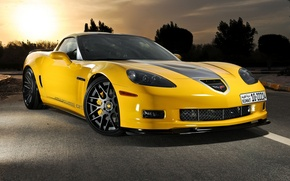 Picture sunset, yellow, corvette, chevrolet, yellow, grand sport, Corvette, chevrole, Grand sport