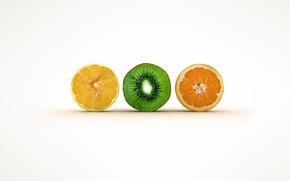 Wallpaper orange, lemon, kiwi, the cut