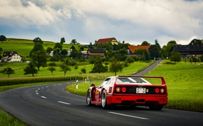 Picture road, field, the sky, grass, clouds, lamp, village, back, Ferrari, F40