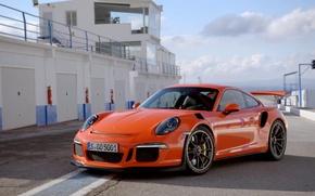 Picture orange, spoiler, Porsche 911, GT3 4.0, boxes.