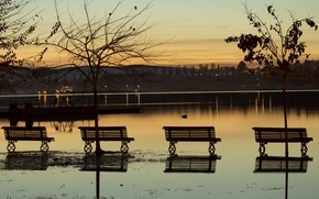 Picture sunset, nature, lake, nature, sunset, lake, evening, bench, Benches