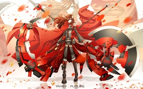 Picture girl, weapons, anime, petals, scarf, art, chain, braid, cloak, rwby, ruby rose, dishwasher1910