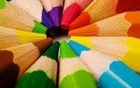Wallpaper color, pencils, in a circle