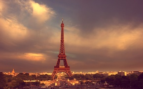 Picture road, the sky, clouds, trees, people, Paris, Paris, Eiffel tower