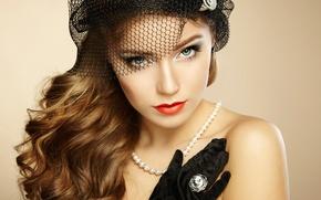 Picture beautiful woman, vintage style, Retro portrait