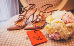 Picture flowers, bokeh, room, shoes, Greece, heels, coin, How To Be A Good Wife, Skiathos