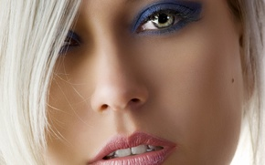 Picture eyes, women, lips, face, blonde