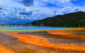 Picture the sky, trees, lake, couples, USA, geyser, Yellowstone National Park