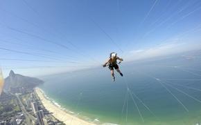 Picture sea, beach, the sky, camera, horizon, helmet, pilot, island, Brazil, Rio de Janeiro, thread, paraglider, …