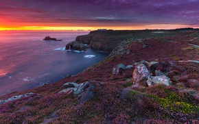 Picture sea, nature, rocks, England, glow