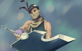 Picture look, weapons, sword, guy, Naruto, Naruto, art, bandages, Plaitum, gorlois, momochi zabuza