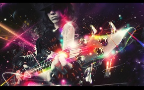 Picture girl, lights, neon, hat, sparks, electric guitar