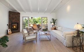Picture sofa, furniture, guitar, balcony, fireplace, Design, living room, Interior, Living