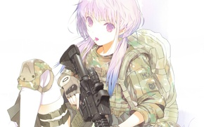 Picture machine, white background, gloves, Lollipop, camouflage, backpack, art, haruaki fuyuno, day & girl, seif sho …