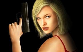 Picture look, girl, gun, haircut, black background, Resident Evil, Milla Jovovich, Alice