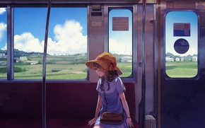 Picture summer, the sky, clouds, field, home, hat, Japan, window, the car, girl, bag, vacation, seat