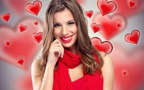Wallpaper scarf, mood, in red, girl, makeup, hairstyle, smile, brown hair, hearts, background