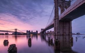 Picture bridge, the city, river, New York, USA, USA, New York, Brooklyn Bridge