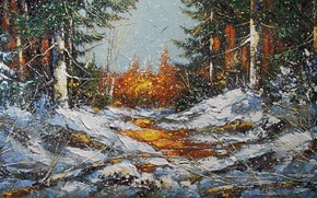 Picture winter, forest, snow, trees, landscape, snowflakes, nature, picture, Blizzard, painting, snowfall, Khodukov, spatula