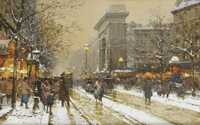 Picture winter, people, street, Paris, Eugene Galien-Laloue