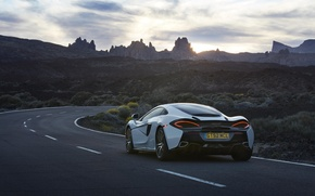 Picture car, auto, the sky, McLaren, wallpaper, white, rear view, road, sky, beautiful, 570GT