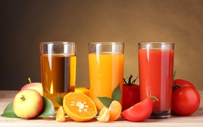 Picture tomatoes, juices, vegetables, tomato, Apple, orange, fruit, glasses, oranges, apples