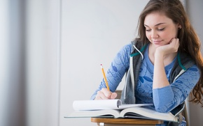 Picture girl, blue, beautiful, Studying, Student