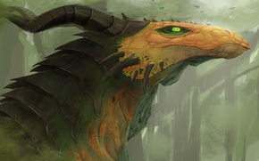 Picture green eyes. horns, fiction, art. dragon. look