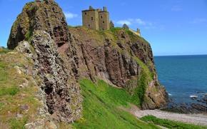 Wallpaper rock, sea, castle, England, coast, Dunnottar Castle