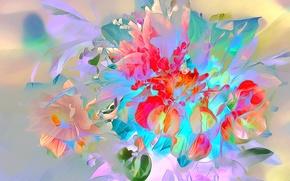 Picture leaves, flowers, nature, rendering, bouquet, petals