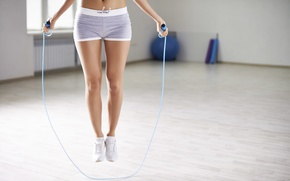 Picture fitness, gym, slippers, aerobic, jump rope