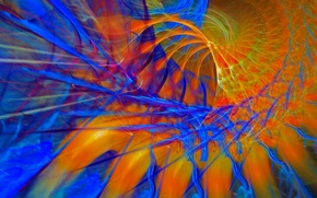 Picture rays, line, paint, spiral, fractal, the volume