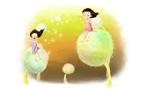 Picture dreams, joy, childhood, the wind, girls, figure, laughter, positive, fluff, dandelions