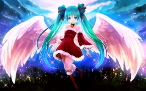 Picture girl, joy, new year, wings, angel, vocaloid, hatsune miku, Vocaloid, art, city lights, arie9