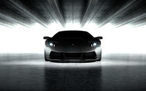 Picture Lamborghini, Murcielago, the front, headlights, Lamborghini, Murcielago, matte black, black matte, LP670-4 Superveloce