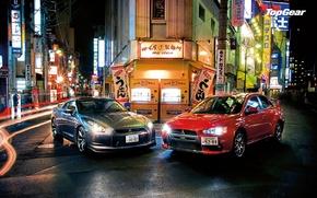 Picture top gear, R35, Nissan GTR, Mitsubishi Lancer Evo, Jpan