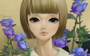 Picture flowers, face, portrait, roses, art, girl, lilac, dong xiao