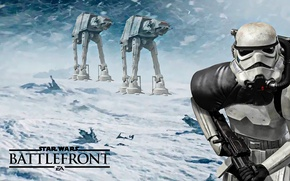 Picture game, Electronic Arts, AT-AT, DICE, Attack, Stormtrooper, Hot, star wars battlefront, Hoth